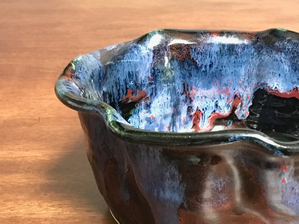 """Cosmic Serving Bowl, roughly 4 inches tall by 8.5 inches wide, Inspired by a """"Planetary Nebula""""(SK3499)"""