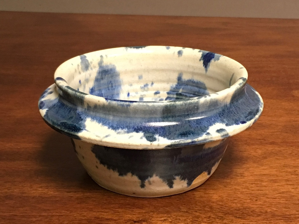 Double-rimmed Experimental Serving Bowl, roughly 4 inches tall by 8 inches wide,  (SK3504)