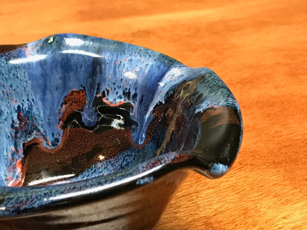 """Cosmic Bowl , roughly 8oz., 3 inches tall by 5.5 inches wide, Inspired by a """"Planetary Nebula"""" (SK3757)"""