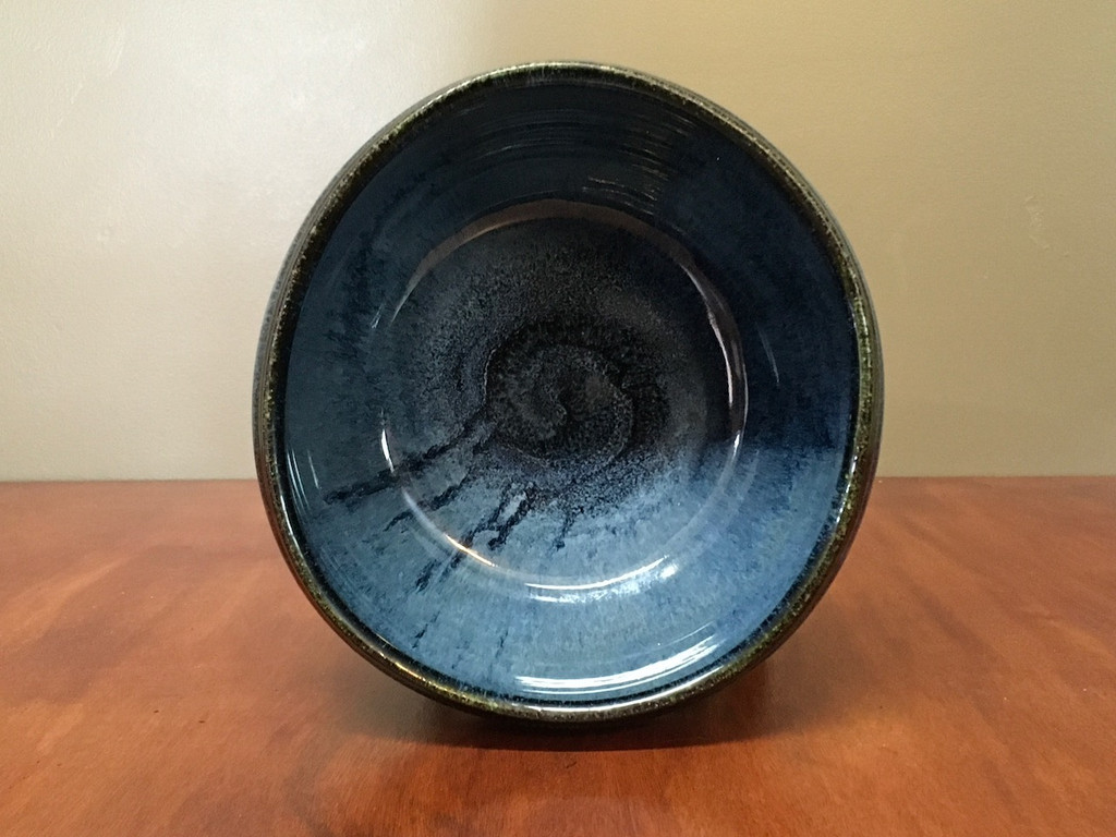 Blue Nuka Cobalt Serving Bowl, Roughly 9 Inches Wide by 5 Inches Tall (SK 4512)