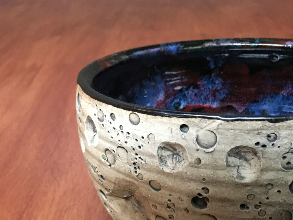 Flawed Lunar/Cosmic Serving Bowl, roughly 4.5 inches tall by 8.5 inches wide, Inspired by a Lunar Surface with a planetary nebula  (SK5047)