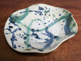 """Stoneware Wall Platter Inspired by Historical Artists, Nuka Glaze with Splashes of Copper and Cobalt, Roughly 15"""" diameter by 3"""" tall (ST374)"""