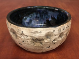 Lunar/Cosmic Serving Bowl with Blue, roughly 3.5 inches tall by 7.5 inches wide, Inspired by a Lunar Surface with a planetary nebula  (SK4524)