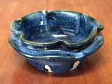 Double Lipped Blue Nuka Cobalt Bowl, roughly 7 inches wide by 3 inches tall,  (SK4653)