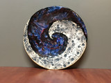 "Cosmic Wall Platter (SK4840), Porcelain and Cobalt, Iron, 24 Karat gold and wood ashes, roughly 14"" diameter by 2.5"" thick, approx 10 pounds."