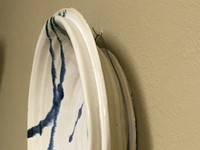 """Porcelain Wall Platter Inspired by Historical Artists, Nuka with Copper, Cobalt and Iron Streaks, Roughly 15"""" diameter by 3"""" tall (ST373)"""