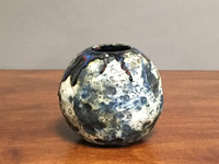 Lunar Orb Vase with Cosmic Drip, roughly 5 inches tall by 5 inches wide, Inspired by a Planetary Nebula (S845)