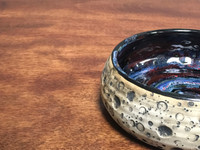 Lunar/Cosmic Small Serving Bowl, roughly 2.5 inches tall by 6 inches wide, Inspired by a Lunar Surface with a planetary nebula  (SK1408)