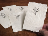 """""""Grasses"""" Card: Handmade Paper/Hand Painted Greeting Card and envelope, small  4"""" x 5.25"""" size with Free Shipping"""