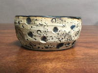 Lunar/Cosmic Serving Bowl, roughly 2.75 inches tall by 5.5 inches wide, Inspired by a Lunar Surface with a Star-Formation Nebula (SK2111)