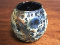 Lunar/Cosmic Bowl/Vase, roughly 5.5 inches tall by 3.5 inches wide, Inspired by a Lunar Surface with a Star-Formation Nebula (SK2117)
