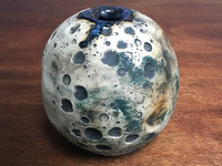 Lunar Orb Vase with Cosmic Drip, roughly 6 inches tall by 6.25 inches wide, Inspired by a Planetary Nebula (SK2118)