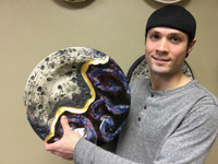 """Cosmic Wall Platter SK2285, Porcelain with Cobalt, Iron, 24 Karat gold and wood ashes, roughly 14.5"""" diameter by 2.5"""" thick, approx 9 pounds."""
