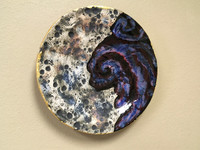 "Cosmic Wall Platter + 1 Free Neptune Mug, SK2288, Porcelain with Cobalt, Iron, 24 Karat gold and wood ashes, roughly 14.5"" diameter by 2.5"" thick, approx 10 pounds."