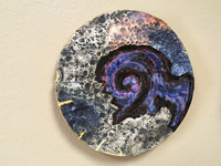 "Cosmic Wall Platter SK2286, Porcelain and Cobalt, Iron, 24 Karat gold and wood ashes, roughly 15"" diameter by 3"" thick, approx 10 pounds."