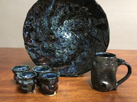 """Combo Set: Galaxy Platter First Draft, Dark Color, roughly 12.5"""" diameter by 2"""" thick, approx 10 pounds, SK2294 Included: 4 Cosmic Shot cups and Cobalt Meteor Mug"""