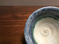 Nuka Cobalt Bowl, Crawling Textured Glaze, roughly 3.5 inches tall by 6 inches wide,  (SK2661)