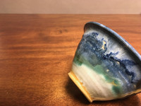 Nuka Cobalt Bowl, Crawling Textured Glaze, roughly 3.5 inches tall by 6 inches wide,  (SK2662)