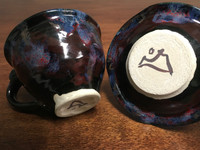 """Cosmic Tea Cup and Saucer, Roughly 6-8 Ounce Size, Inspired by a """" Planetary Nebula""""(SK2976)"""
