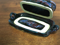 "Cosmic Butter Dish, roughly 9"" long by 4.5"" wide by 2.5""tall, including the tray (SK2992)"