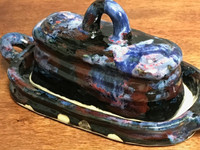"""Cosmic Butter Dish, roughly 9"""" long by 4.5"""" wide by 4.5""""tall, including the handles and the tray (SK3060)"""