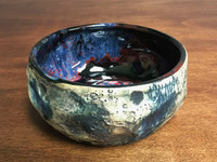 Lunar/Cosmic Serving Bowl with Blue, roughly 3.5 inches tall by 7 inches wide, Inspired by a Lunar Surface with a planetary nebula  (SK3291)