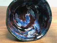 """Cosmic Serving Bowl, roughly 4.5 inches tall by 9 inches wide, Inspired by a """"Planetary Nebula""""(SK3497)"""