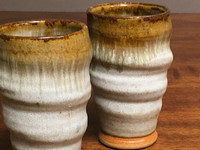 Pair of Tall Spiral Tapered Nuka Iron Cups, roughly 14-16oz, (SK3702)