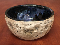 "PATRONS ONLY: Lunar/Cosmic Serving Bowl with Blue, roughly 3.5"" tall by 7.5"" wide, Inspired by a Lunar Surface with a planetary nebula  (SK4524)"