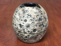 Lunar/Cosmic Vase/Table Centerpiece, roughly 5.5 inches tall by about 5 inches wide, Inspired by a Lunar Surface with a Star-Formation Nebula (SK4575)