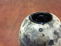Lunar/Cosmic Vase/Table Centerpiece, roughly 5.5 inches tall by about 5 inches wide, Inspired by a Lunar Surface with a Planetary Nebula (SK4576)