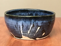Blue Nuka Cobalt Serving Bowl, Roughly 9.25 Inches Wide by 4 Inches Tall (SK 4602)