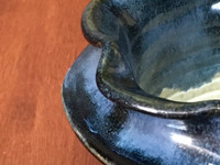 Double-Lipped Nuka Cobalt Bowl, roughly 6 inches wide by 3.5 inches tall,  (SK5259)
