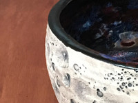 Lunar/Cosmic Serving Bowl, roughly 4.5 inches tall by 8.5 inches wide, Inspired by a Lunar Surface with a planetary nebula  (SK5273)