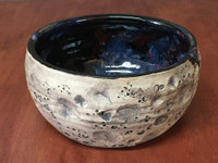 Lunar/Cosmic Serving Bowl, roughly 4.5 inches tall by 8.5 inches wide, Inspired by a Lunar Surface with a planetary nebula  (SK5274)