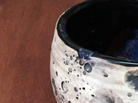 Lunar/Cosmic Serving Bowl, roughly 3 inches tall by 5 inches wide, Inspired by a Lunar Surface with a planetary nebula (SK5395)