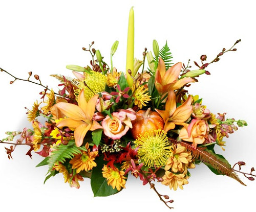 Autumn Table Centerpiece with Candle