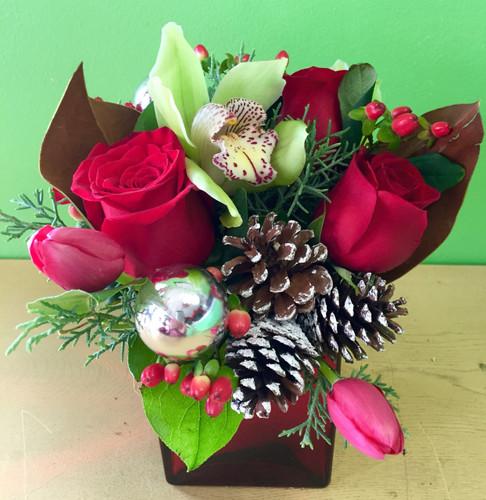 Small Holiday Cube Vase