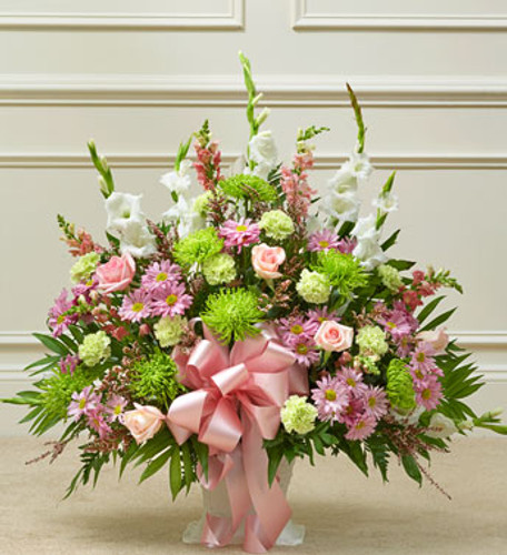Pink, White, and Green  Sympathy Basket