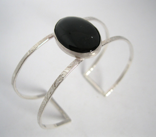 Sterling and onyx bracelet.