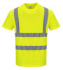 Portwest Cotton Comfort Short Sleeved T-Shirt - SET OF TWO: Front View Yellow