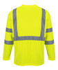 Portwest Hi-Vis Long Sleeve Pocket T-Shirt - SET OF TWO: Back View Yellow