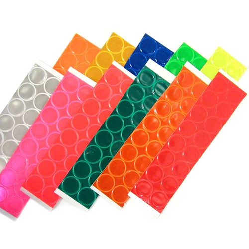 1 inch reflective dots with adhesive backing to stick  to almost any surface. 16 count packaging.