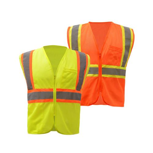 1005/1006 Class 2 Two Tone Mesh Zip Vest