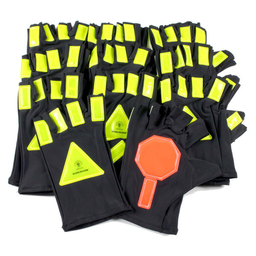 10pk Glo Glovs SuperStop Reflective Traffic Glovs