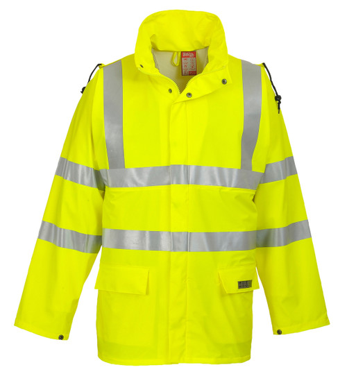 Portwest Sealtex Flame Hi-Vis Jacket: Front View Yellow