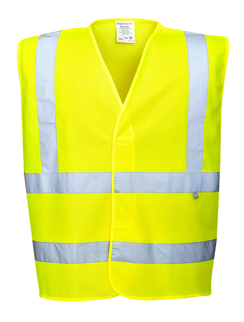 Portwest Hi-Vis Vest- Flame Resistant: Front View Yellow