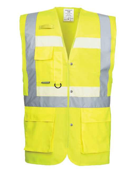 Portwest Glowtex Triple Vest: Front View Yellow