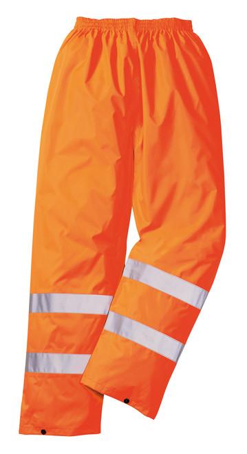 Portwest Hi-Vis Rain Pant: Front View Orange