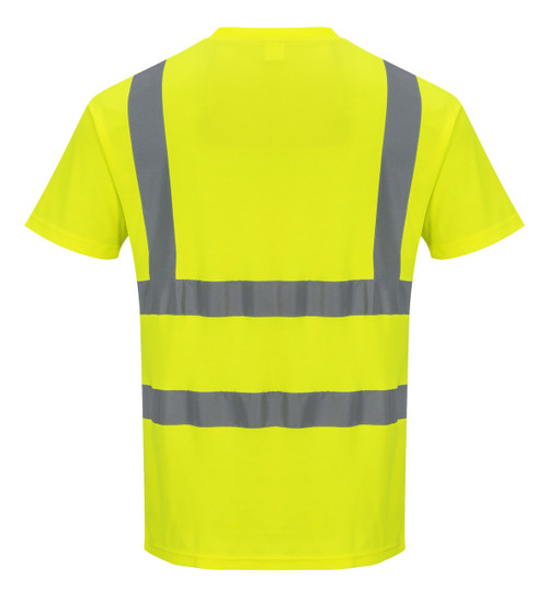 Portwest Cotton Comfort Short Sleeved T-Shirt - SET OF TWO: Back View Yellow